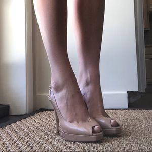 Jimmy Choo Nude Peep Toe Slingback Shoes